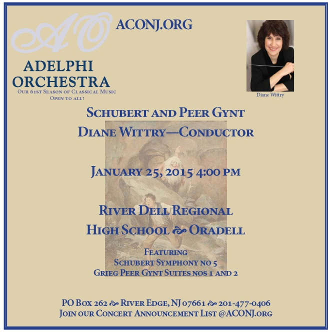 Upcoming Concerts:Schubert & Peer Gynt: Sunday Jan 25th